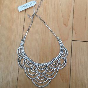 New Ellen Tracy silver rhinestone choker necklace